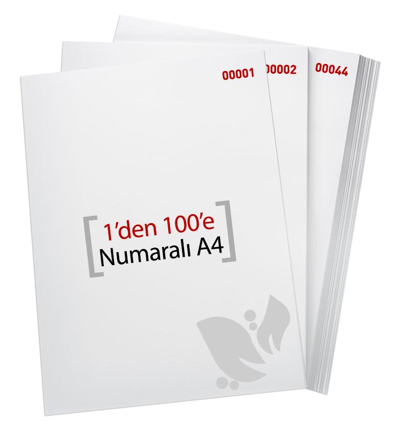 1'den - 100' E Numaralı A4 Kağıt - Copier bond 80 gr