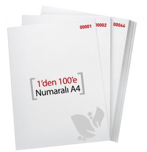 1'den - 100' E Numaralı A4 Kağıt