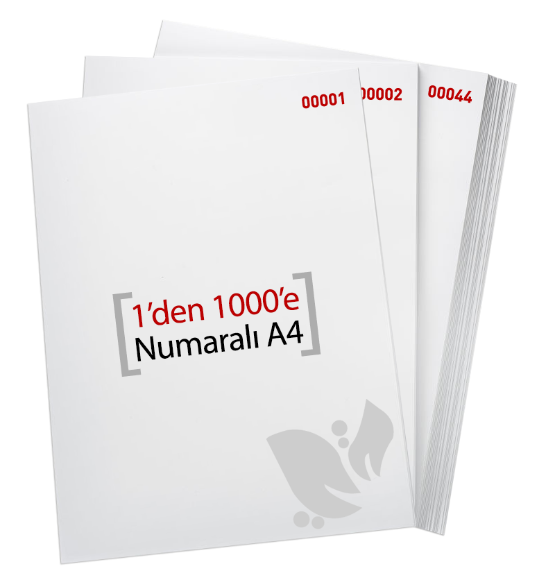 1'den - 1000' E Numaralı A4 Kağıt - Xerox