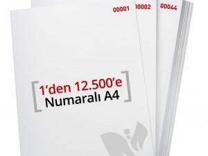 1'den - 12.500' E Numaralı A4 Kağıt - Copier Bond 80 gr
