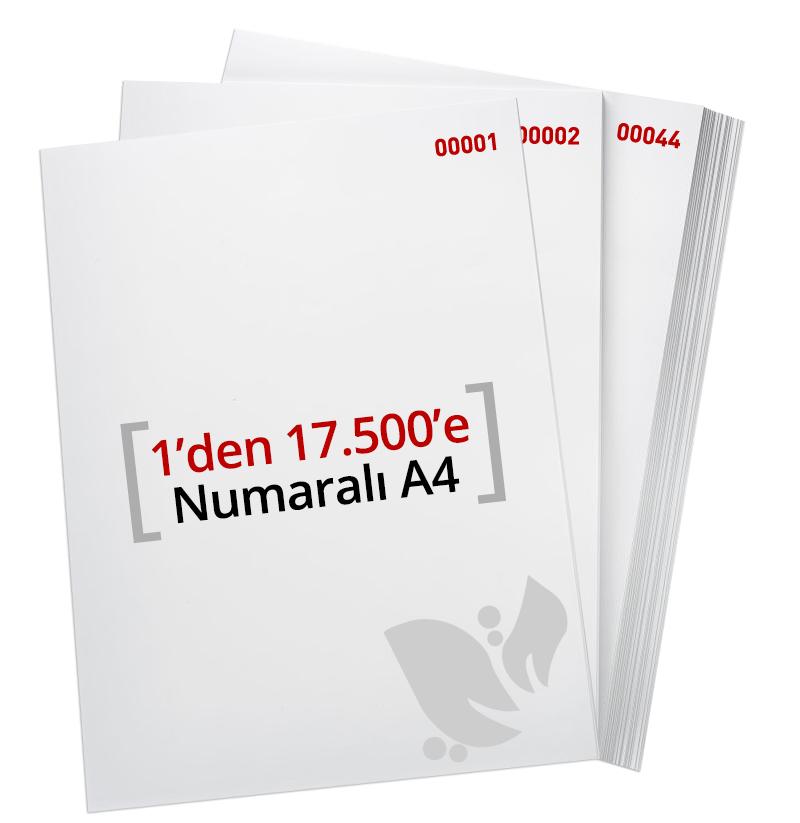 1'den - 17.500' E Numaralı A4 Kağıt - Copier Bond 80 gr