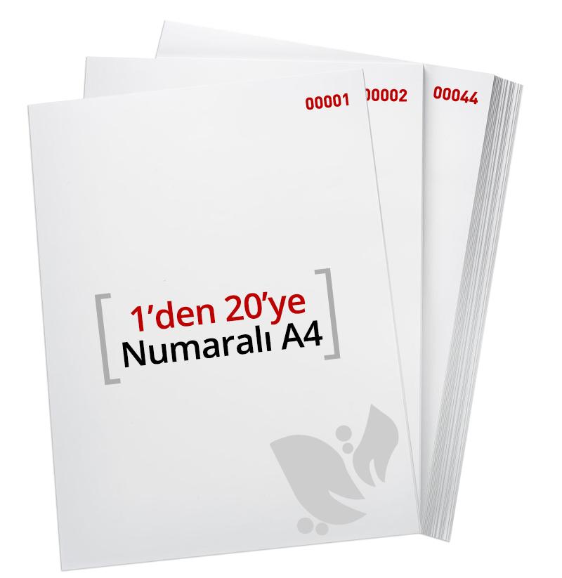 1'den - 20 'Ye Numaralı A4 Kağıt - Copier bond 80 gr