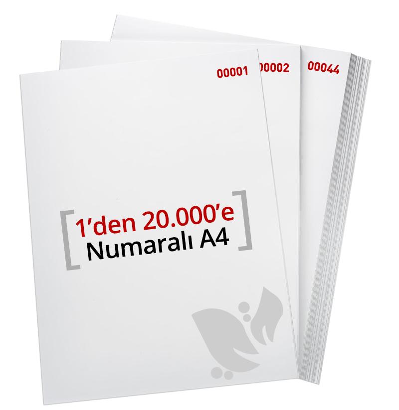 1'den - 20.000' E Numaralı A4 Kağıt - Copier Bond 80 gr