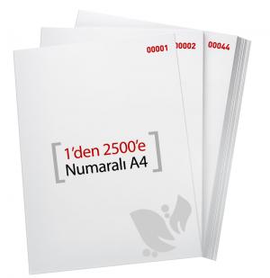 1'den - 2500' E Numaralı A4 Kağıt