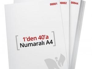 1'den - 40' A Numaralı A4 Kağıt - Copier bond 80 gr