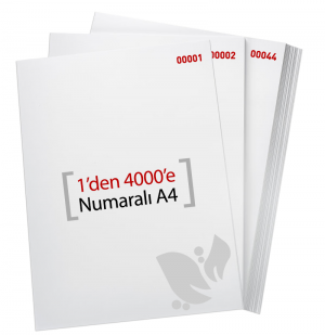 1'den - 4000' E Numaralı A4 Kağıt