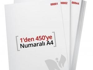 1'den - 450' Ye Numaralı A4 Kağıt - Copier bond 80 gr