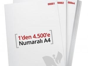 1'den - 4.500' E Numaralı A4 Kağıt - Xerox