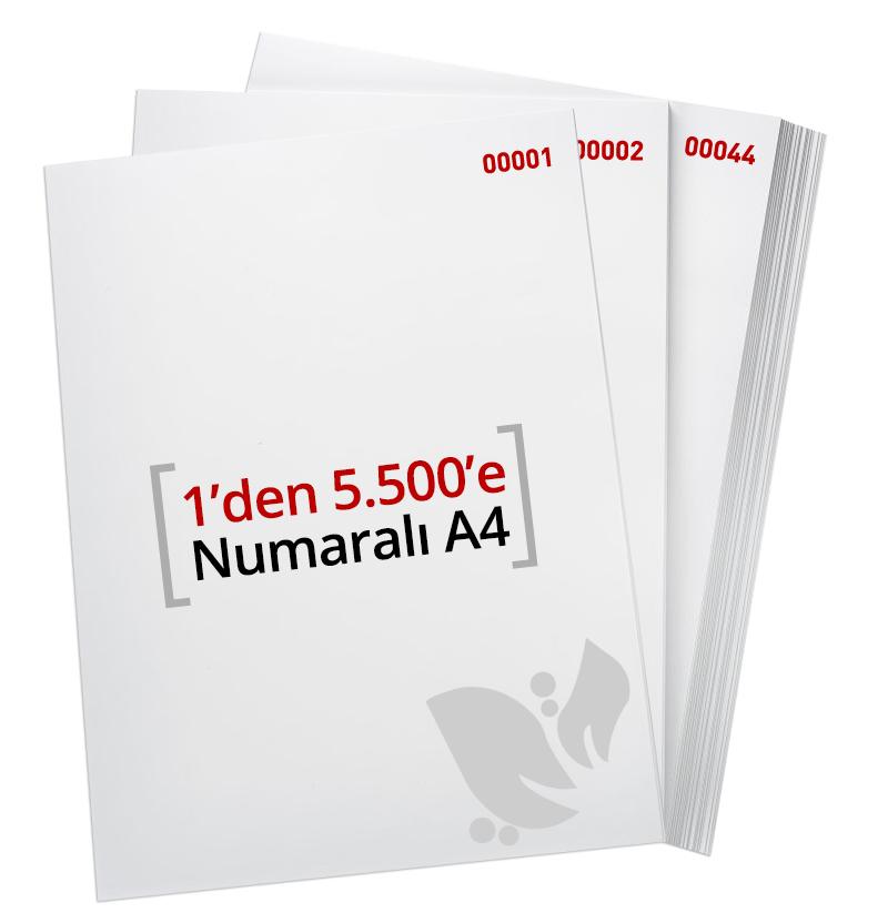 1'den - 5.500' E Numaralı A4 Kağıt - Copier bond 80 gr