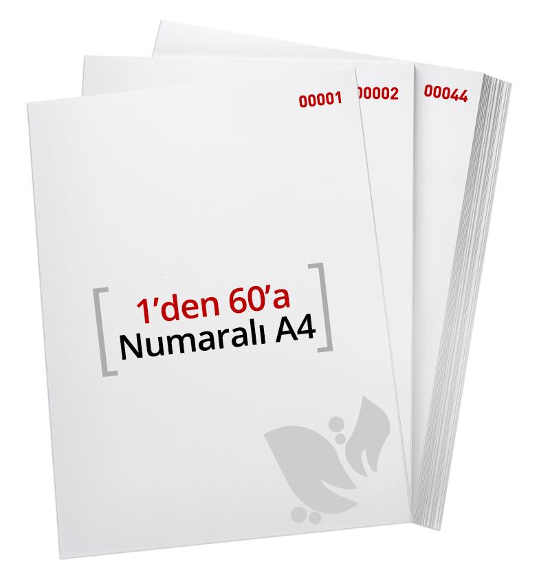 1'den - 60' A Numaralı A4 Kağıt - Copier bond 80 gr