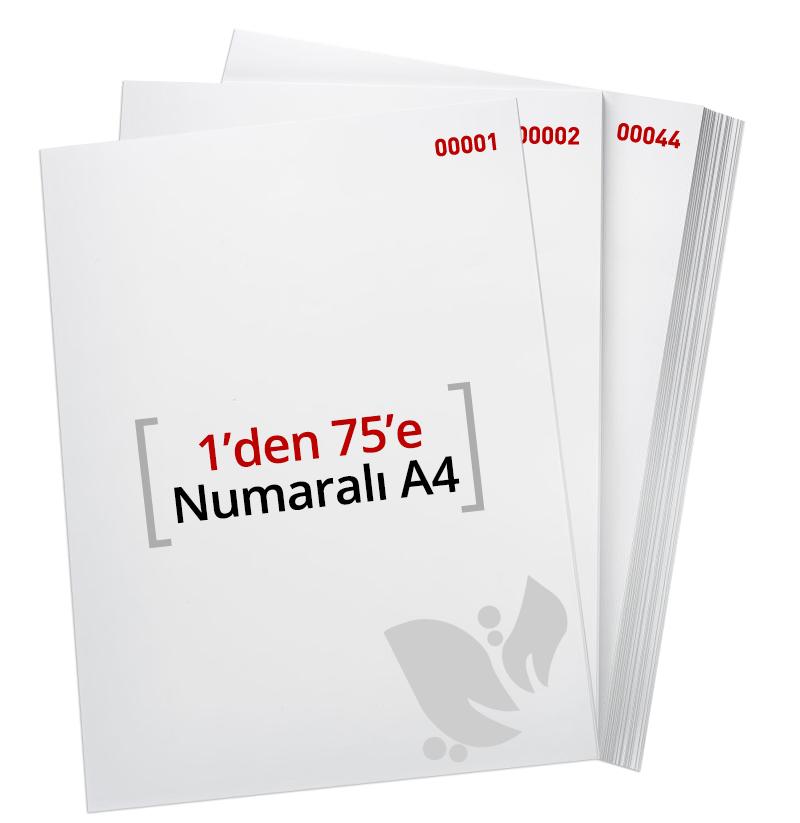 1'den - 75' E Numaralı A4 Kağıt - Copier bond 80 gr