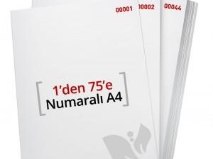 1'den - 75' E Numaralı A4 Kağıt - Xerox