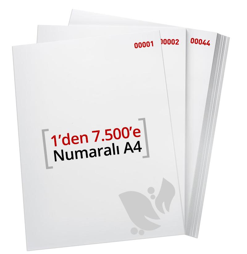 1'den - 7500' E Numaralı A4 Kağıt - Copier Bond 80 gr