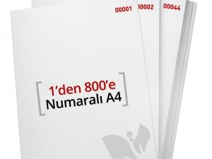 1'den - 800' E Numaralı A4 Kağıt - Xerox